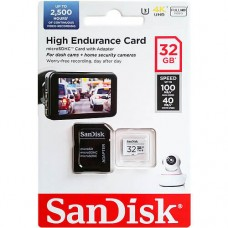 32GB SanDisk High Endurance microSDHC Card with Adapter - for Dashcams & home monitoring