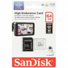 64GB SanDisk High Endurance microSDHC Card with Adapter - for Dashcams & home monitoring
