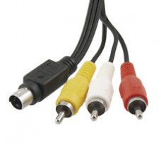 S-Video 4 pin to RCA (Yellow-Red-White) Composite Cable