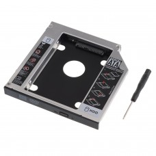 SATA 2nd HDD HD Hard Drive Caddy Case for 12.7mm Laptop CD DVD-ROM Optical Bay
