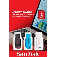 SanDisk Cruzer Blade  8GB Flash Drive *3 Red/Blue/White