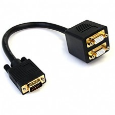 SVGA Monitor Video Y Splitter Cable for VGA to Dual 2