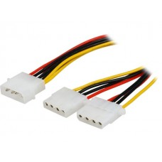 4-Pin Molex Male Cable to 2x4-pin Molex Female Power Splitter Cable