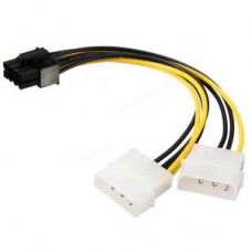 4-Pin (Molex) Cable x 2 to 8 Pin PCI-E Y Power Adapter Cable