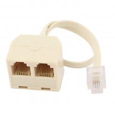 RJ11 Male to 2x RJ11 Female Splitter Adapter, Telephone Line Splitter