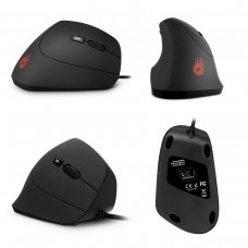Velocifire Adjustable DPI 1000/1600 with 6 Buttons Wired Ergonomic Vertical Black Mouse