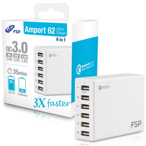 FSP 6-Port Quick Charge 3.0 USB Charger for Mobile, Tablet with auto-detect function