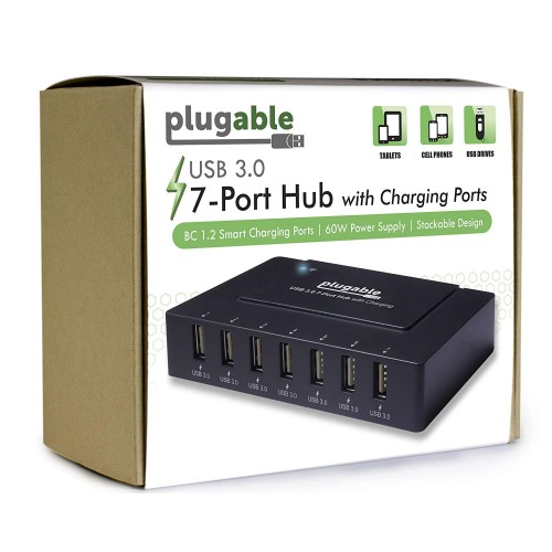 Plugable 7-Port USB 3.0 Hub with 60W Power Adapter