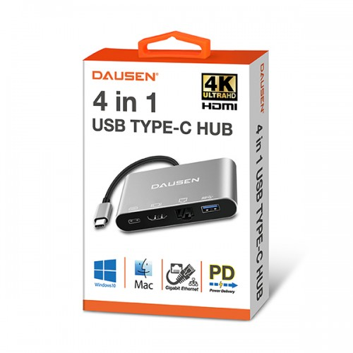 DAUSEN TR-UH050 4 IN 1 TYPE-C Multi Port Docking Station USB 3.0/Ethernet/HDMI