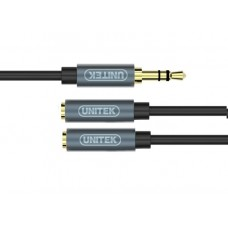 3.5 Mini Male to 3.5*2 Mini Female 0.2 m Extension Cable Unitek Y-C956ABK
